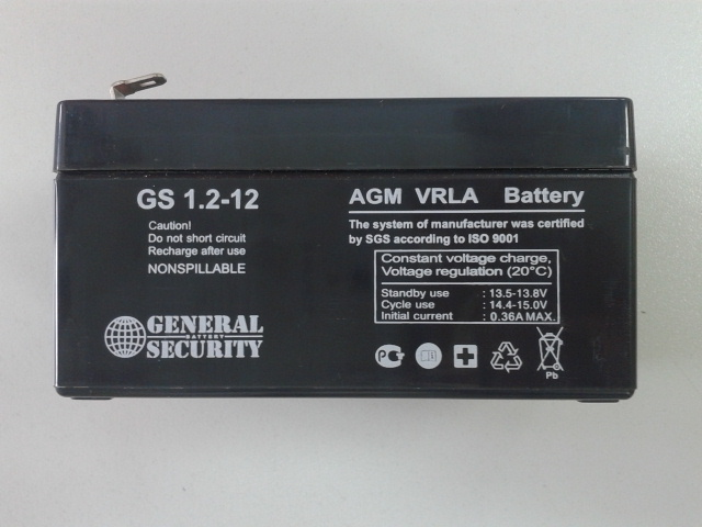 GS 1,2-12 - аккумулятор General Security 1.2ah 12V
