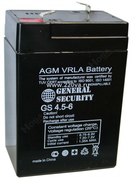GS 4,5-6 - аккумулятор General Security 4.5ah 6V